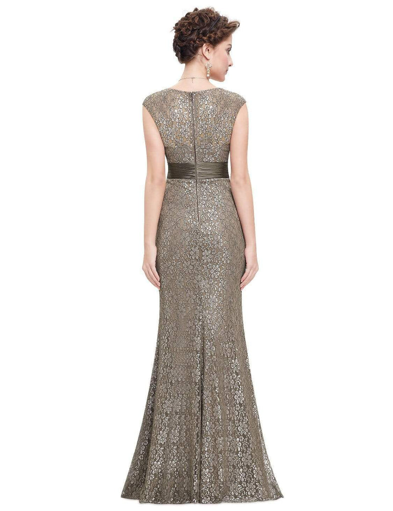 Floor Length Lace Evening Party Dress-Coffee 6