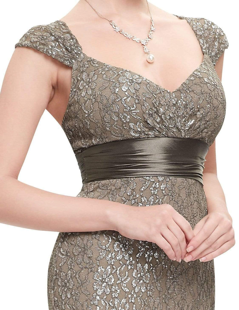 Floor Length Lace Evening Party Dress-Coffee 9