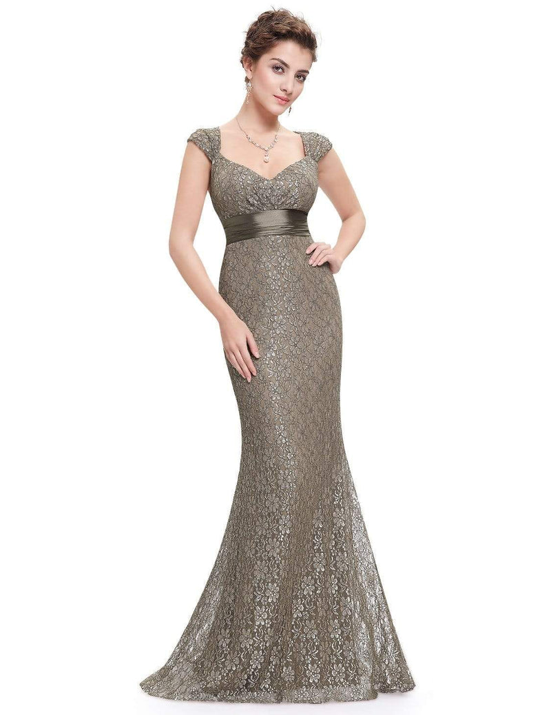 Floor Length Lace Evening Party Dress-Coffee 5