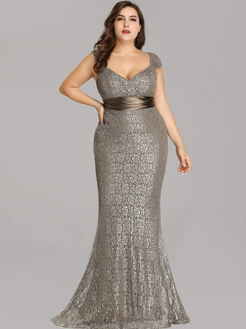 Floor Length Lace Evening Party Dress-Coffee 11