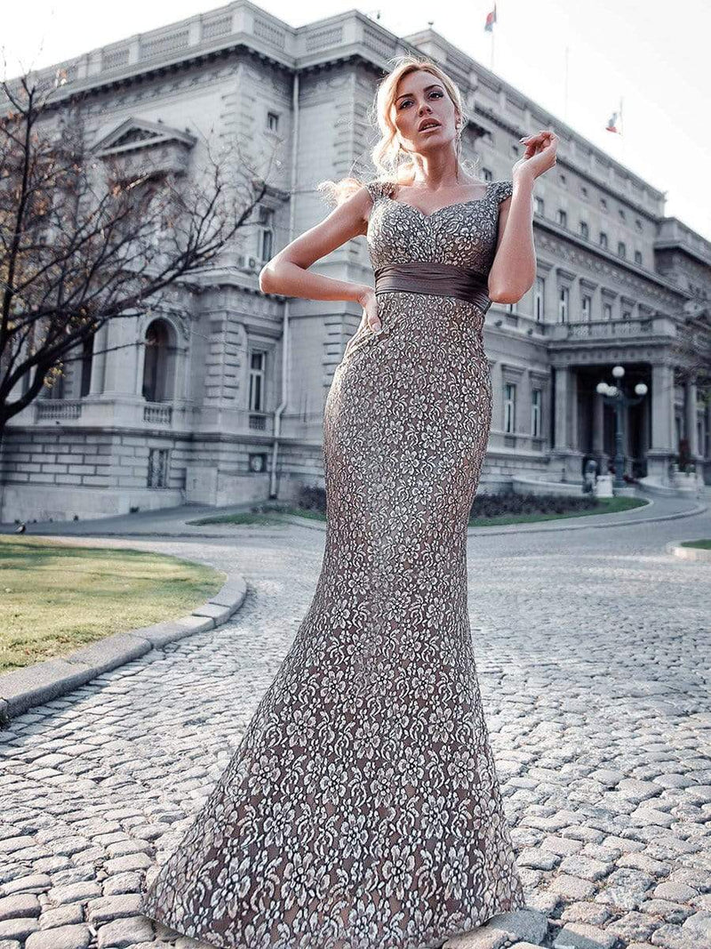 Floor Length Lace Evening Party Dress-Coffee 1