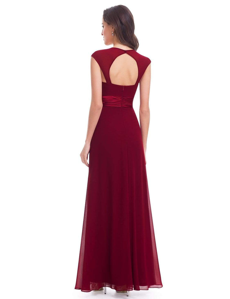 Sleeveless Floor Length Evening Dress With Empire Waist-Burgundy 3