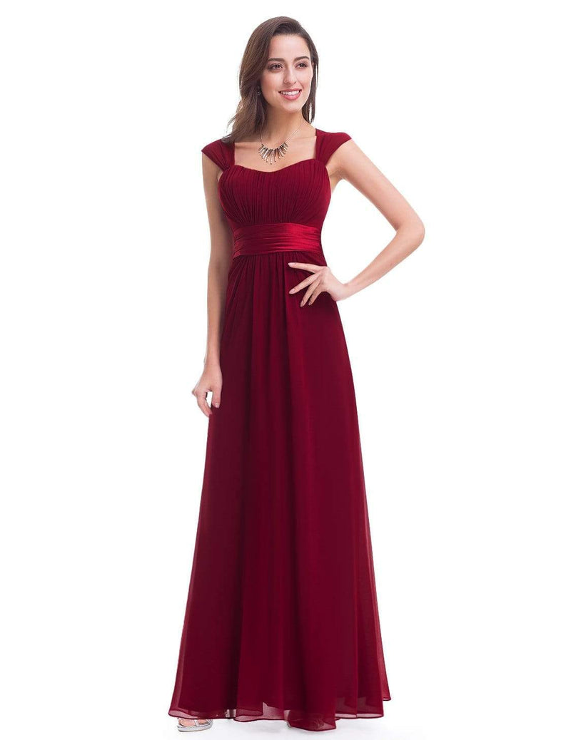 Sleeveless Floor Length Evening Dress With Empire Waist-Burgundy 4