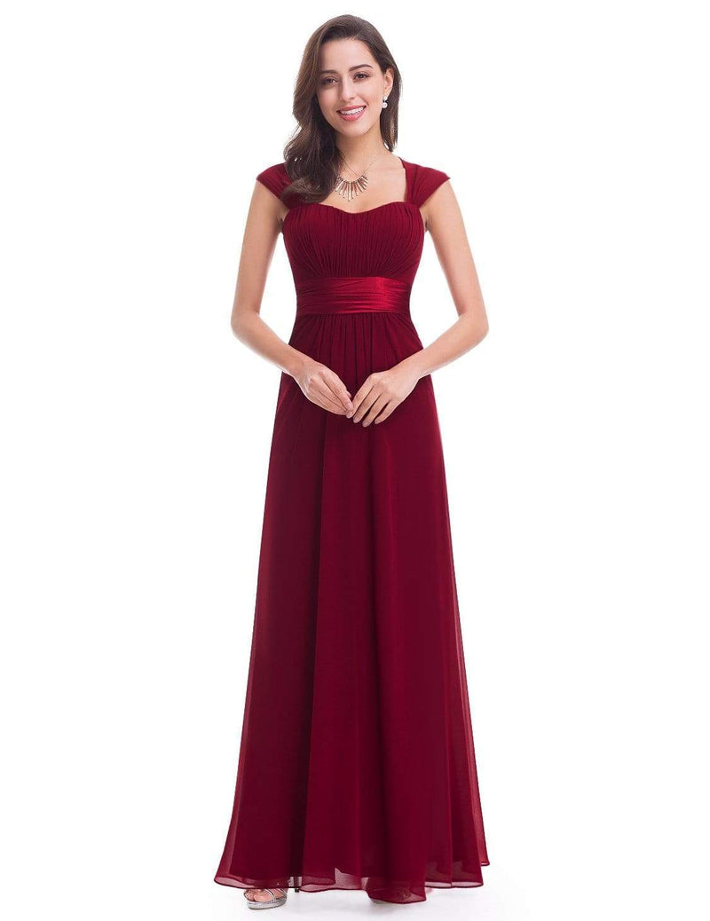 Sleeveless Floor Length Evening Dress With Empire Waist-Burgundy 1