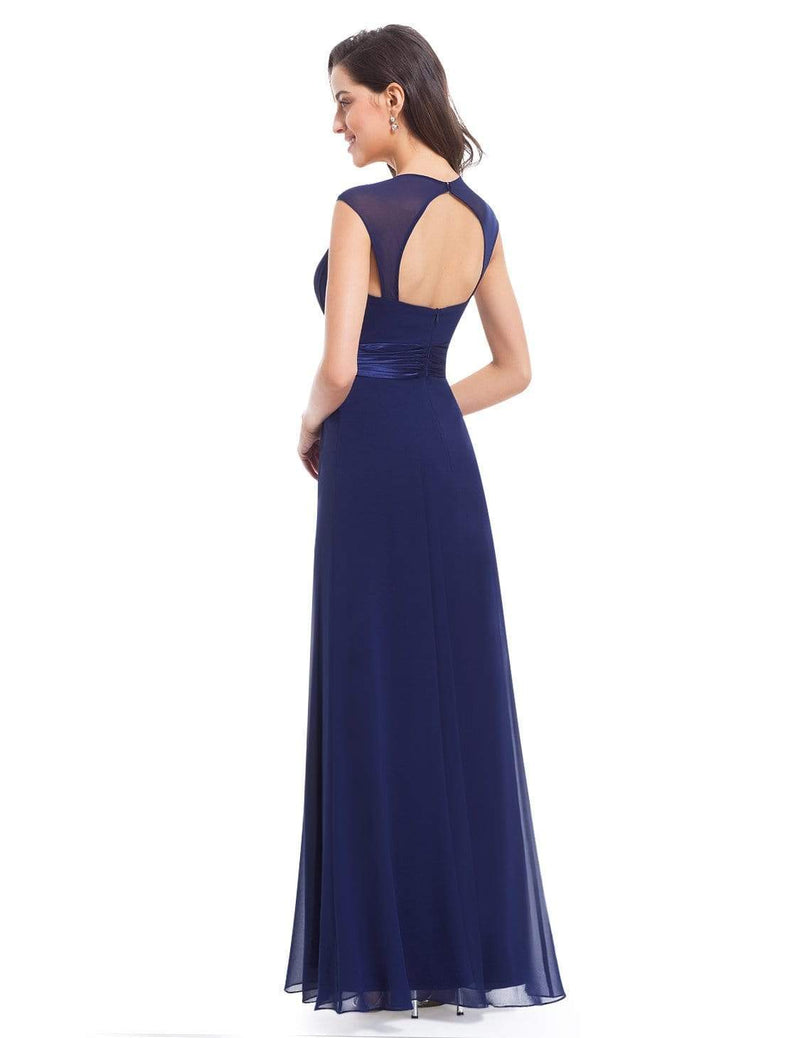 Sleeveless Floor Length Evening Dress With Empire Waist-Navy Blue 3