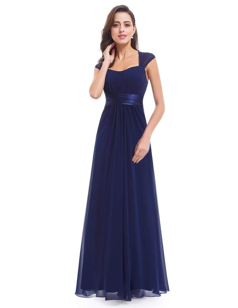 Sleeveless Floor Length Evening Dress With Empire Waist-Navy Blue 4