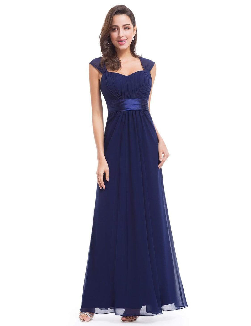 Sleeveless Floor Length Evening Dress With Empire Waist-Navy Blue 1