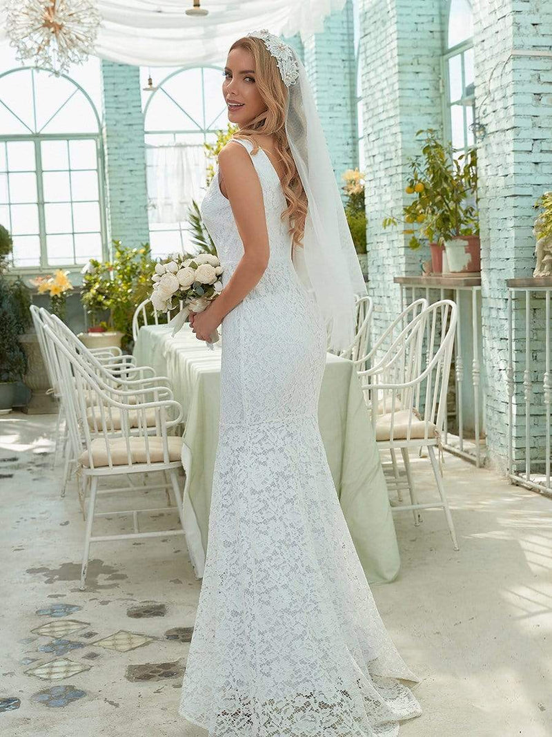 Dainty Deep V Neck Sleeveless Fishtail Lace Wedding Dress-White 3