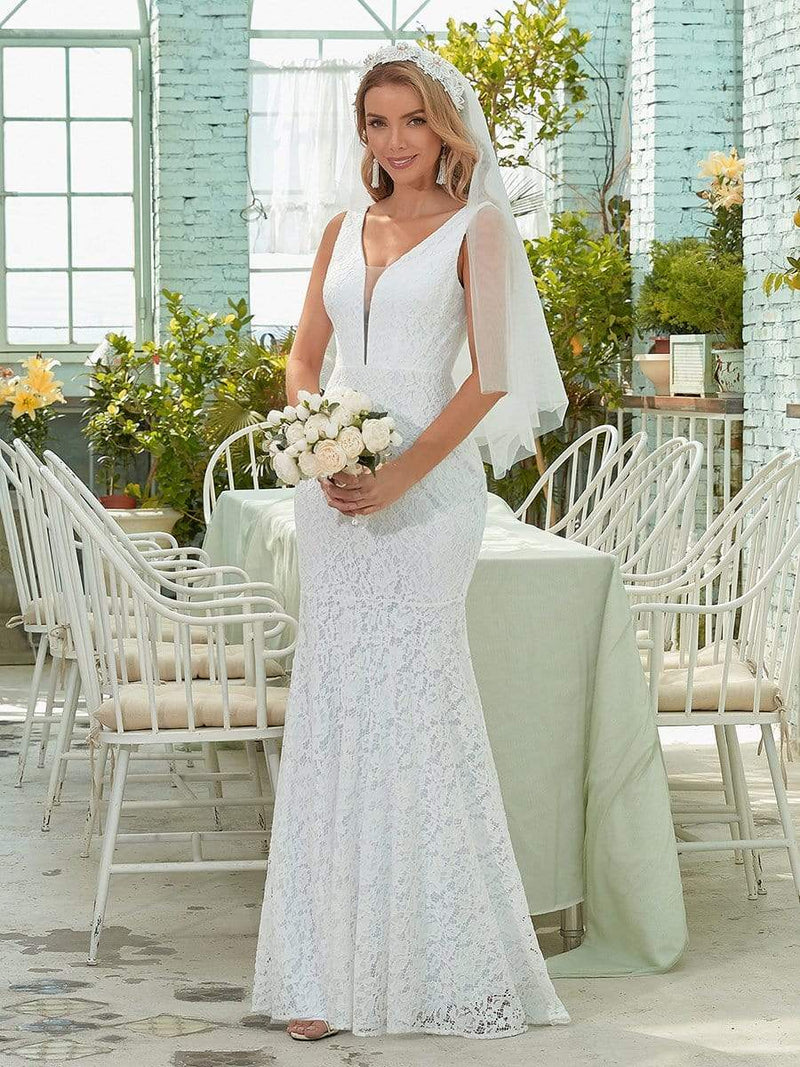 Dainty Deep V Neck Sleeveless Fishtail Lace Wedding Dress-White 1