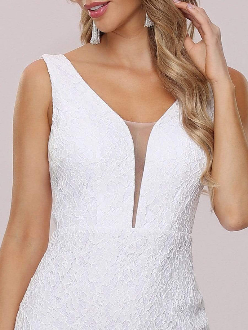 Dainty Deep V Neck Sleeveless Fishtail Lace Wedding Dress-White 8
