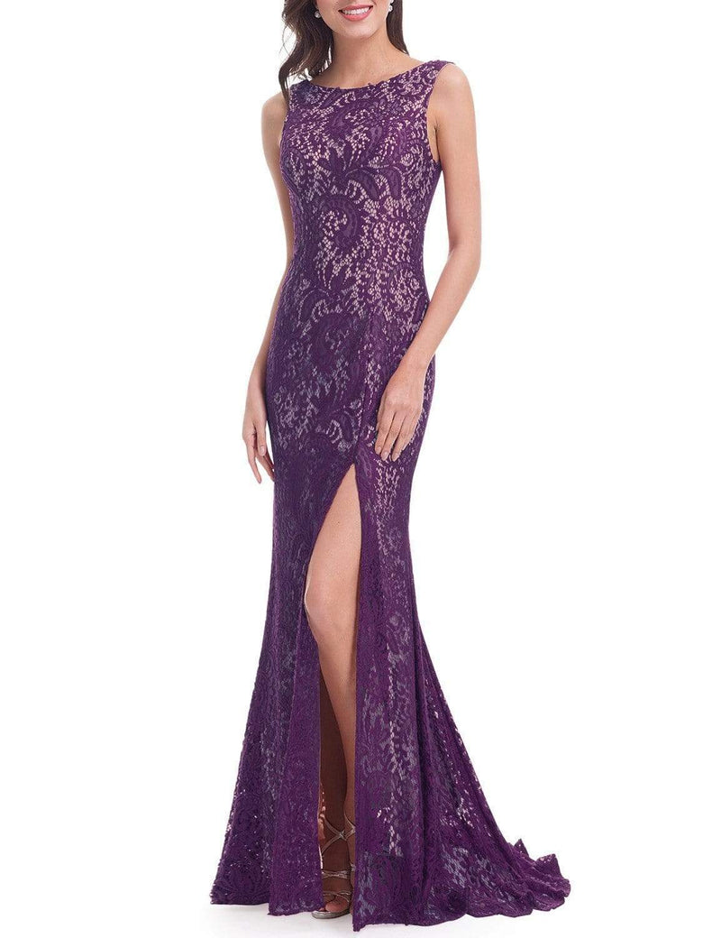 Thigh High Slit Evening Dress With Open Back-Dark Purple 2
