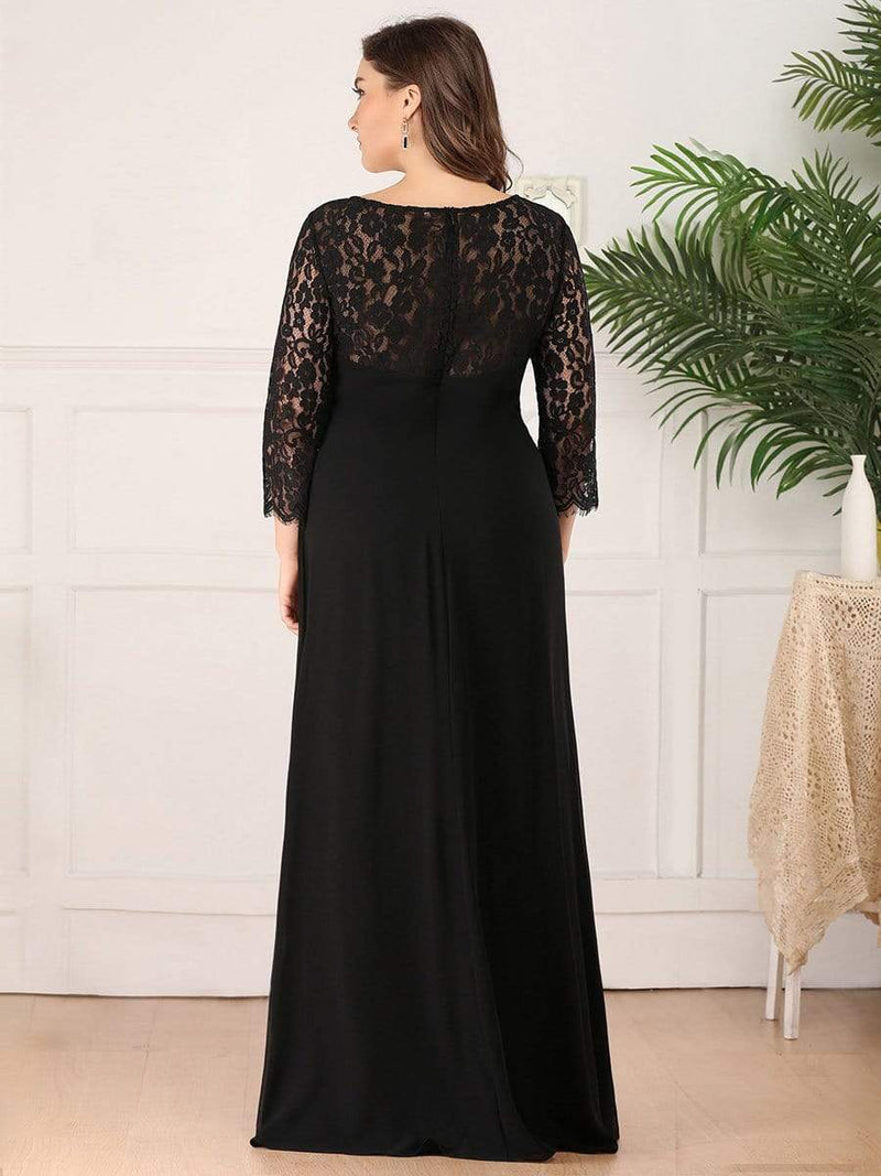 Lace Long Sleeve Floor Length Evening Gown-Black 7