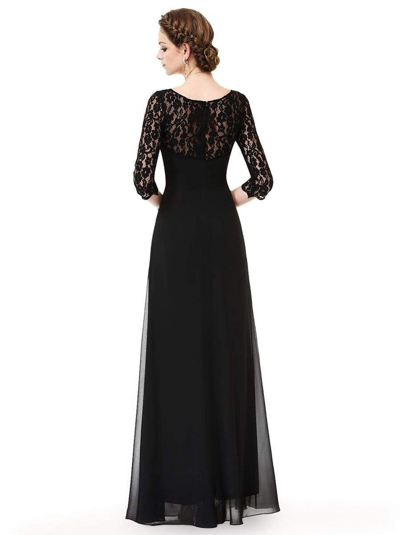 Lace Long Sleeve Floor Length Evening Gown-Black 2