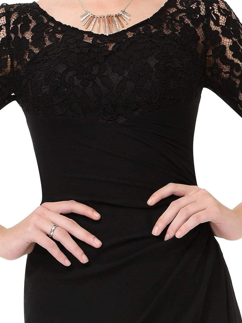 Lace Long Sleeve Floor Length Evening Gown-Black 5