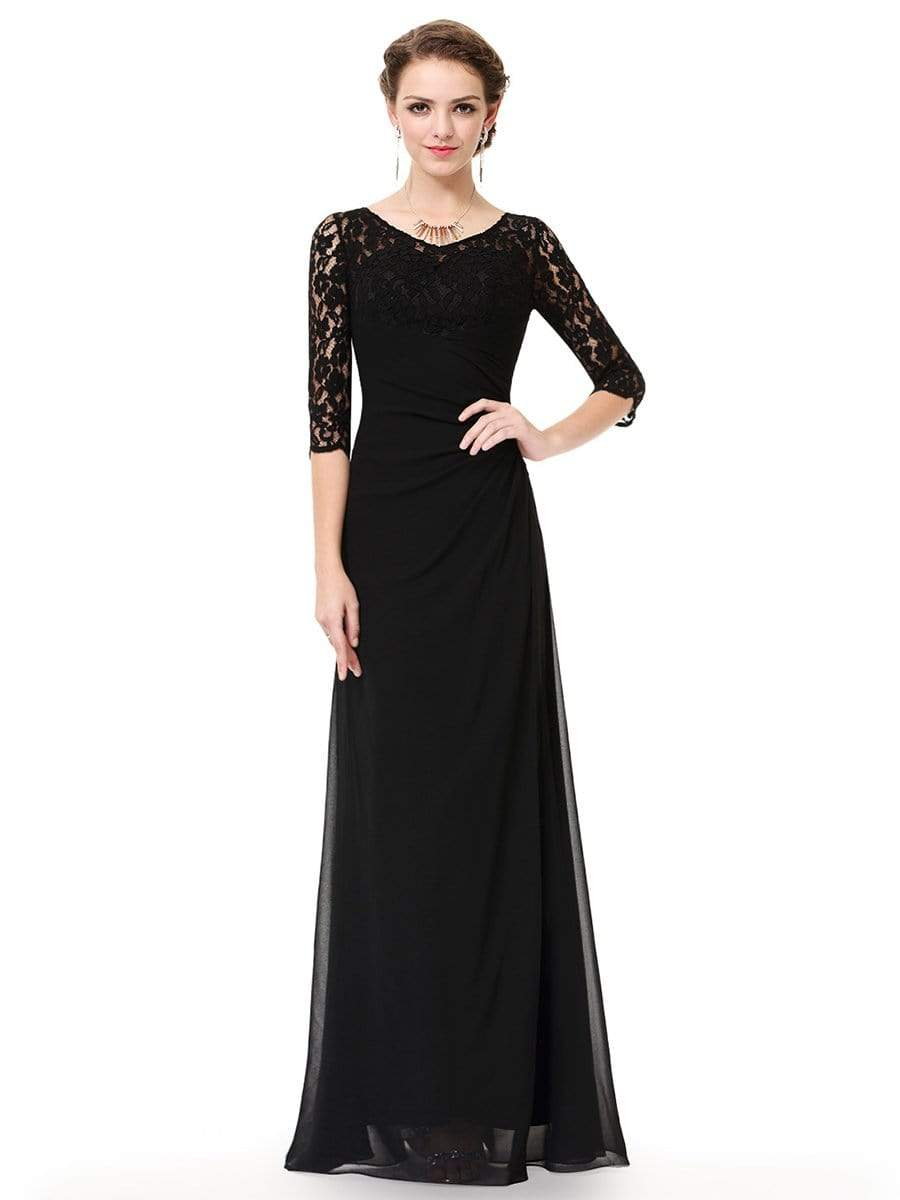 Floor Length Lace Long Sleeve Evening Gown