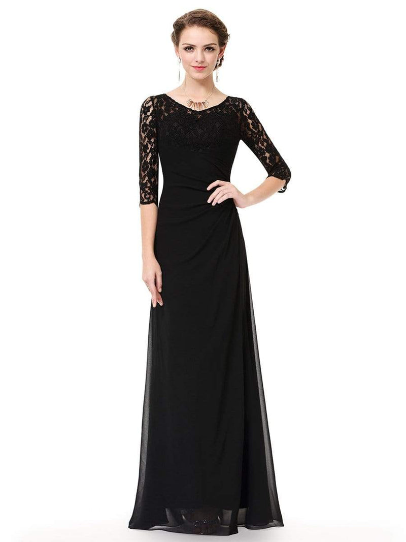Lace Long Sleeve Floor Length Evening Gown-Black 1