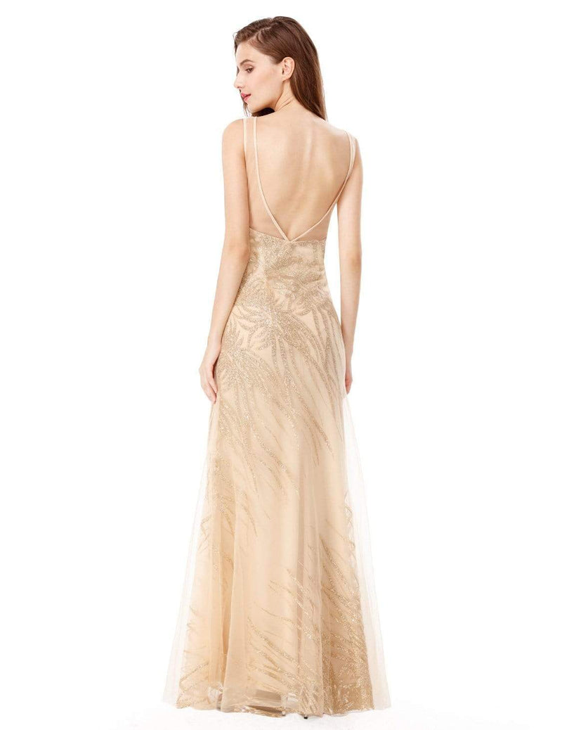 Floor Length Glitter Evening Gown With Illusion Neckline-Gold 3