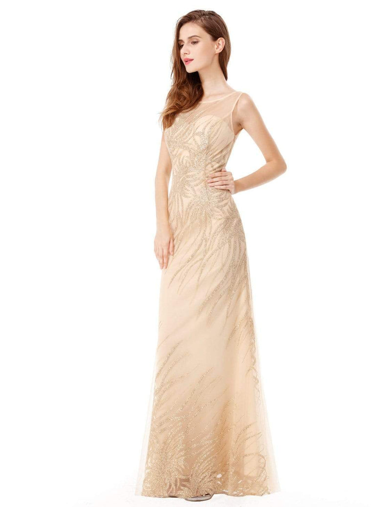 Floor Length Glitter Evening Gown With Illusion Neckline-Gold 4