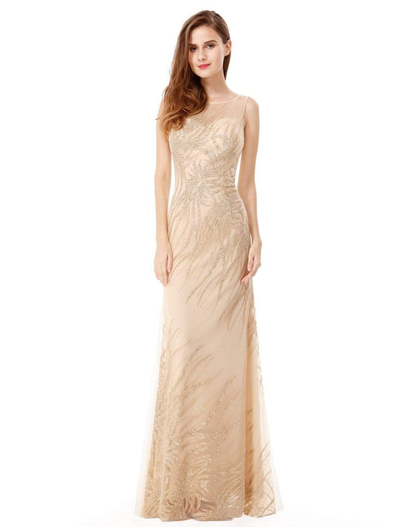 Floor Length Glitter Evening Gown With Illusion Neckline-Gold 5