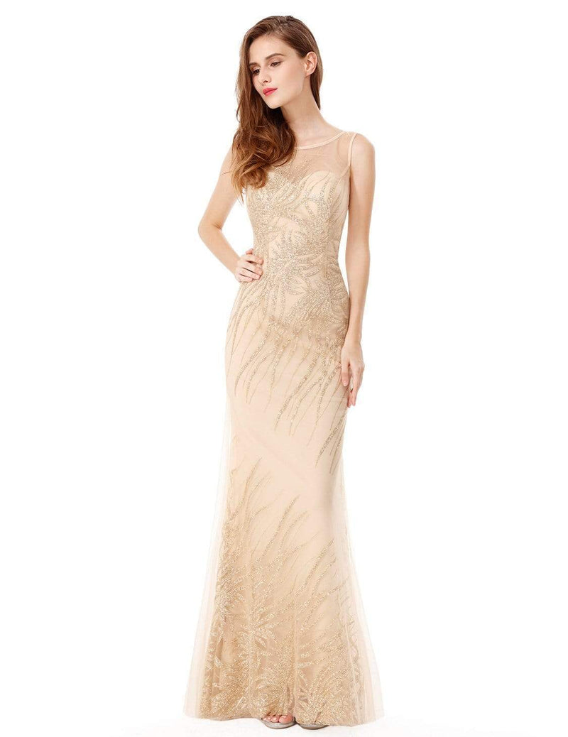 Floor Length Glitter Evening Gown With Illusion Neckline-Gold 1