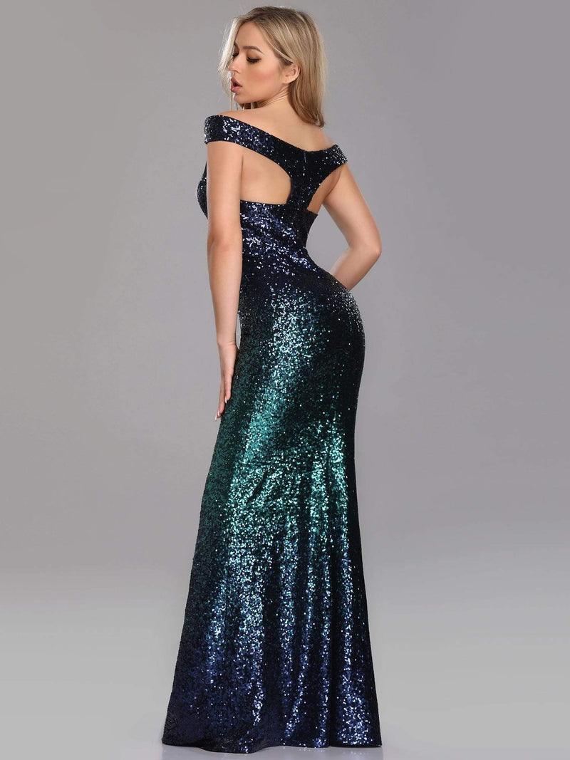 Floor Length Off Shoulder Sparkles Sequins Evening Gown-Dark Green 2