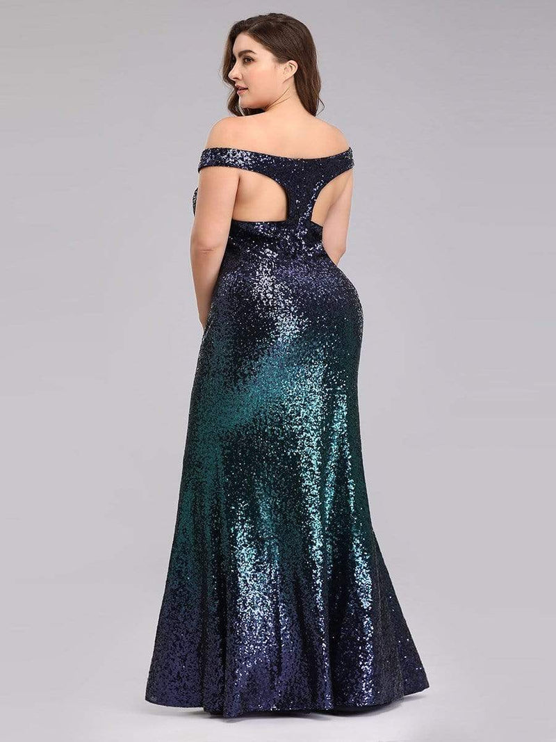 Plus Size Off Shoulder Sparkles Sequins Evening Gown-Dark Green 2