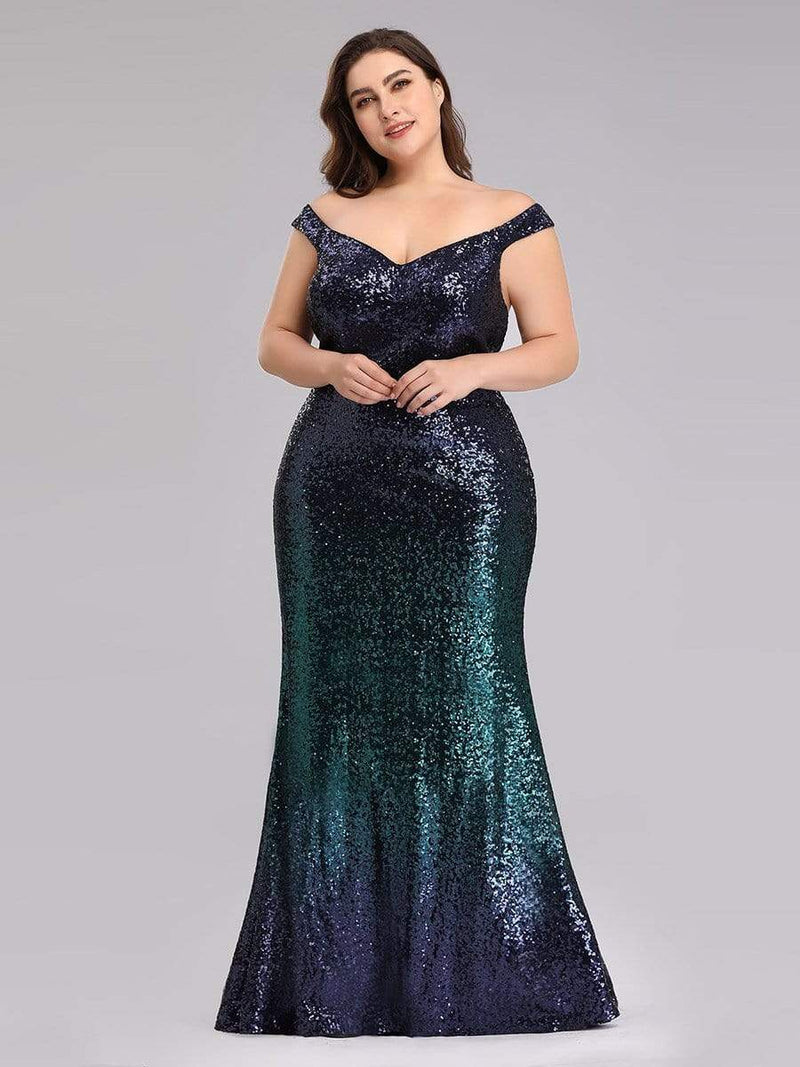 Plus Size Off Shoulder Sparkles Sequins Evening Gown-Dark Green 3