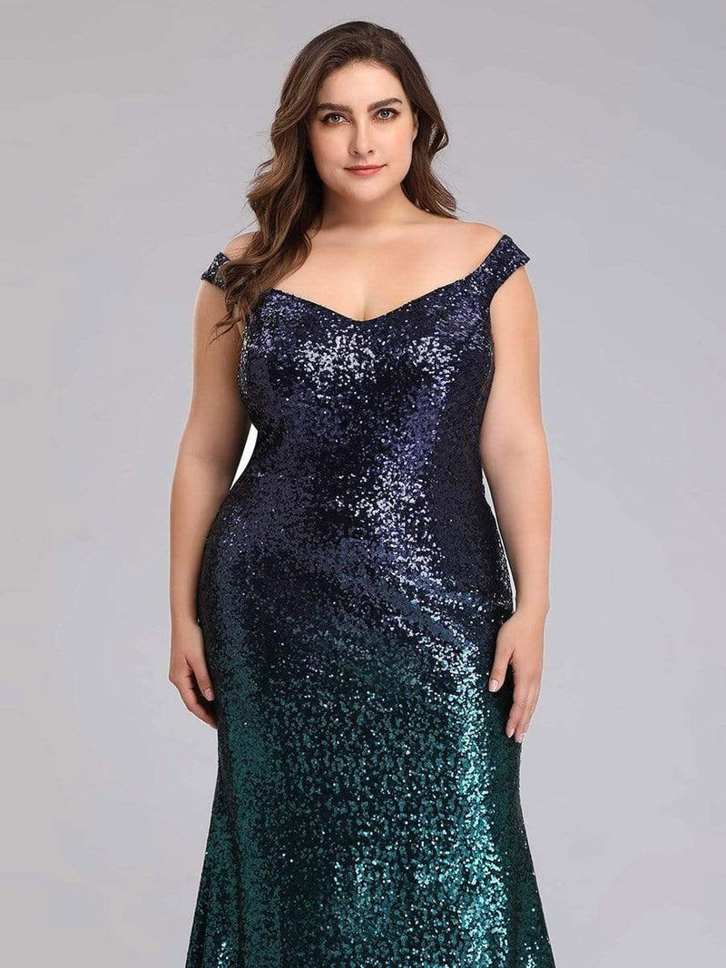 Plus Size Off Shoulder Sparkles Sequins Evening Gown-Dark Green 5