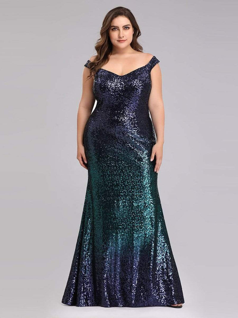 Floor Length Off Shoulder Sparkles Sequins Evening Gown-Dark Green 6