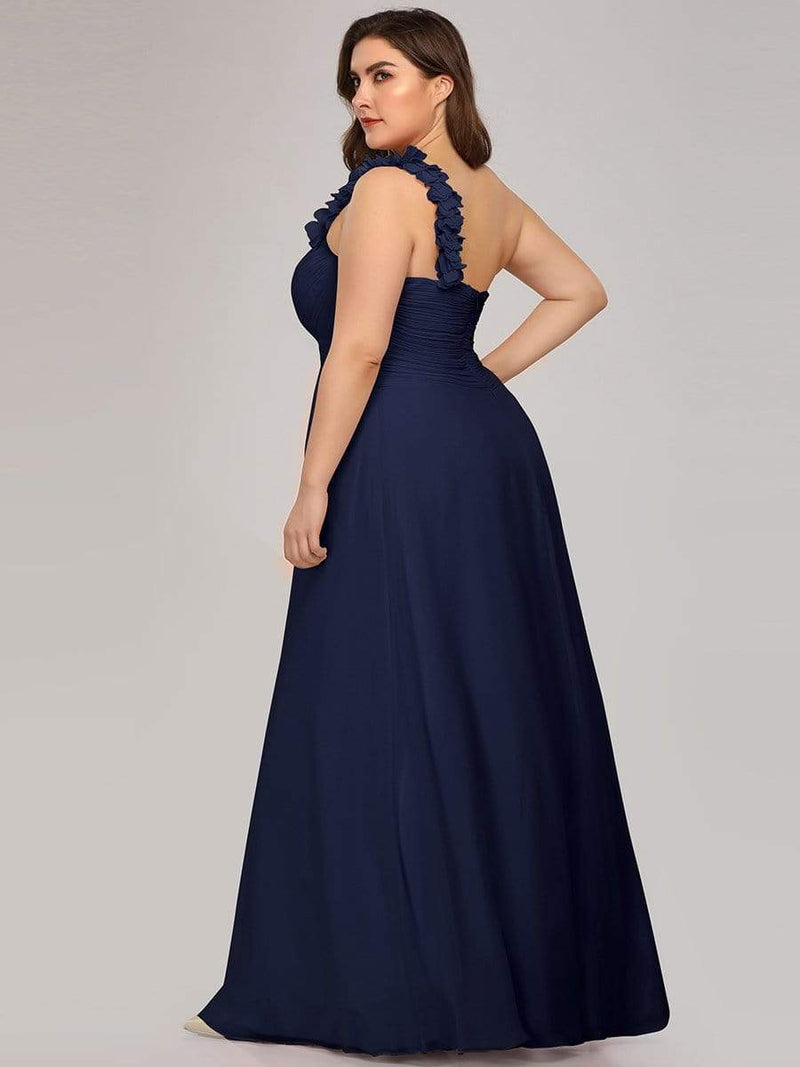 Chiffon One Shoulder Long Bridesmaid Dress-Navy Blue 7