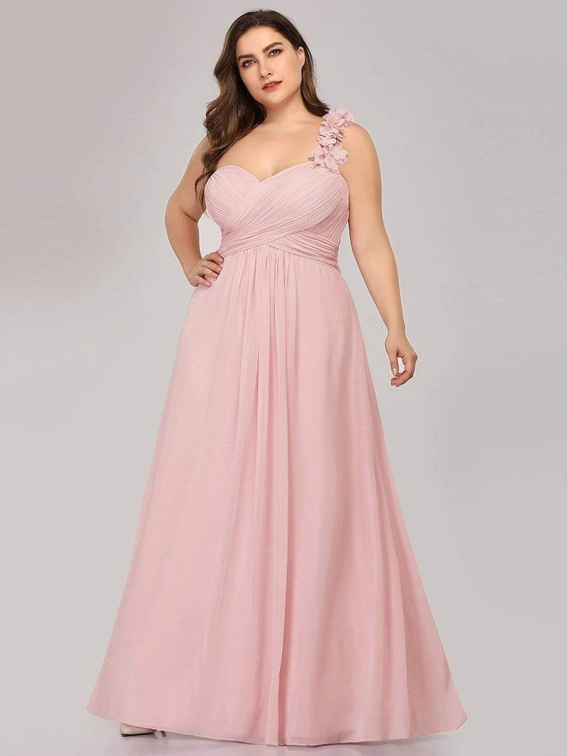 Chiffon One Shoulder Long Bridesmaid Dress-Pink 6