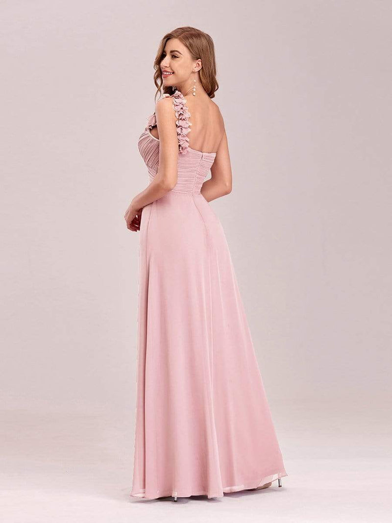 Chiffon One Shoulder Long Bridesmaid Dress-Pink 5