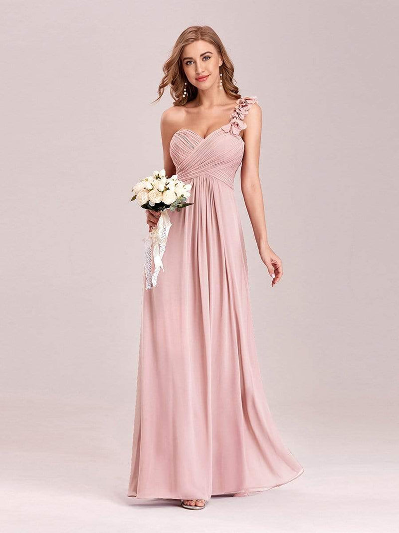 Chiffon One Shoulder Long Bridesmaid Dress-Pink 4