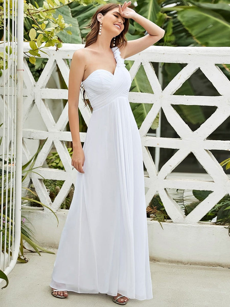 Chiffon One Shoulder Long Bridesmaid Dress-White 4