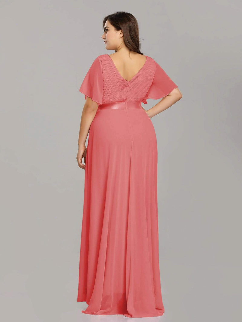Long Empire Waist Evening Dress With Short Flutter Sleeves-Coral 8