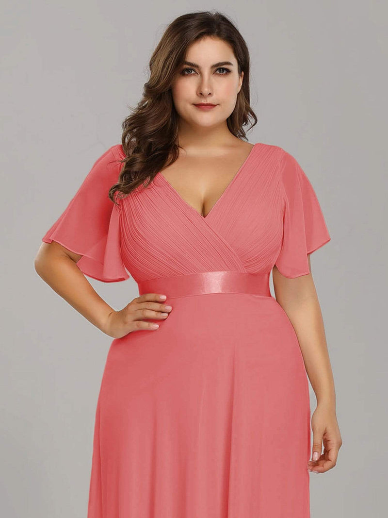 Long Empire Waist Evening Dress With Short Flutter Sleeves-Coral 10