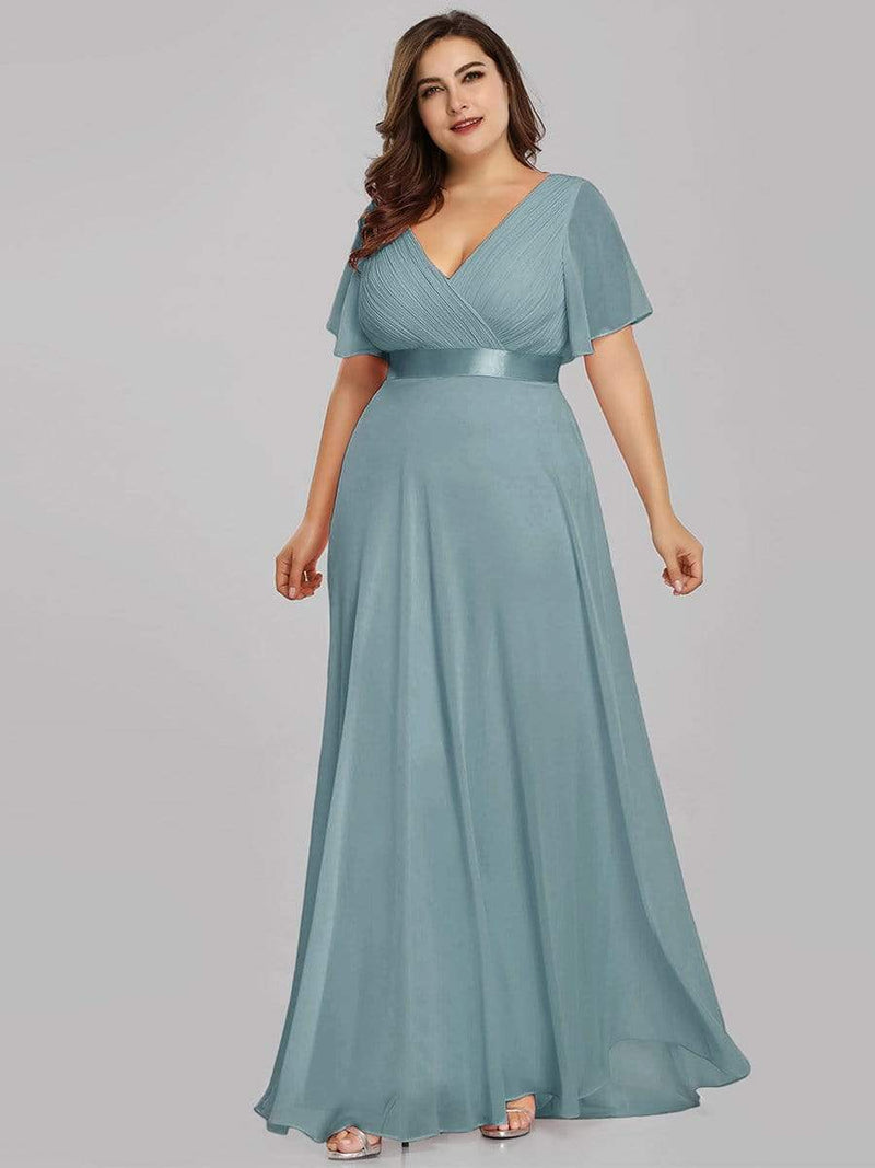 Long Empire Waist Evening Dress With Short Flutter Sleeves-Dusty Blue 10