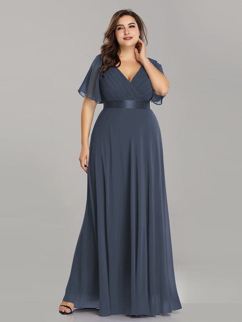 Long Empire Waist Evening Dress With Short Flutter Sleeves-Dusty Navy 16