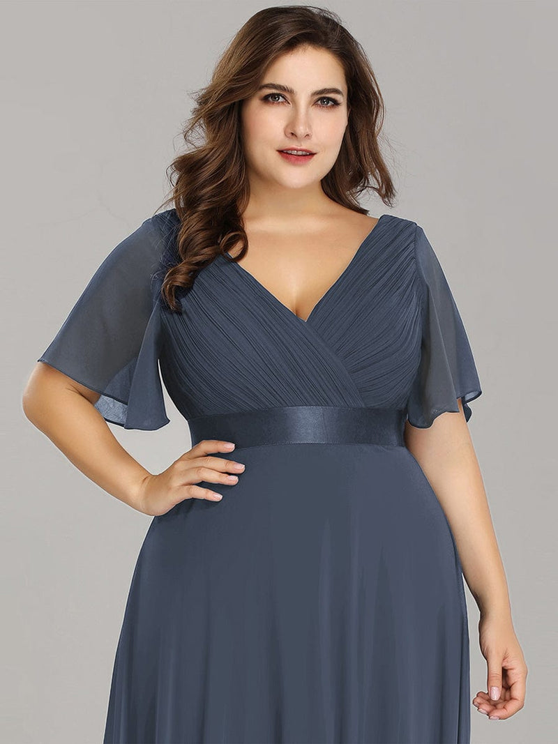 Long Empire Waist Evening Dress With Short Flutter Sleeves-Dusty Navy 17
