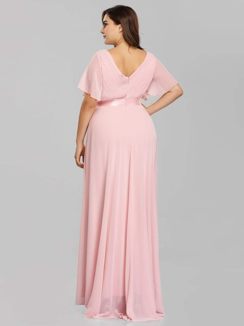 Long Empire Waist Evening Dress With Short Flutter Sleeves-Pink 7
