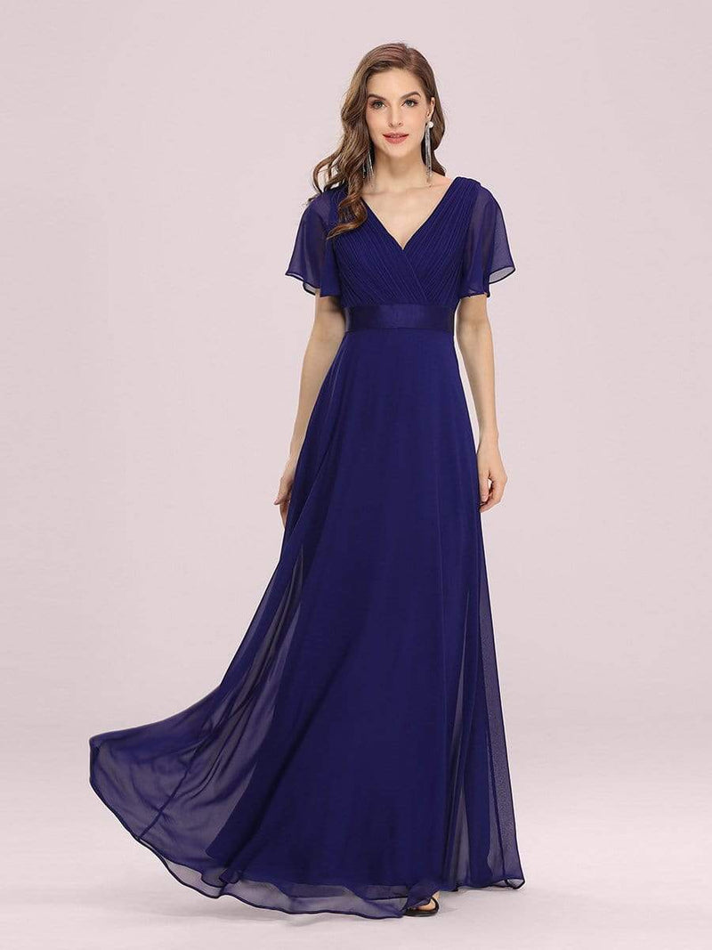 Long Empire Waist Evening Dress With Short Flutter Sleeves-Royal Blue 5