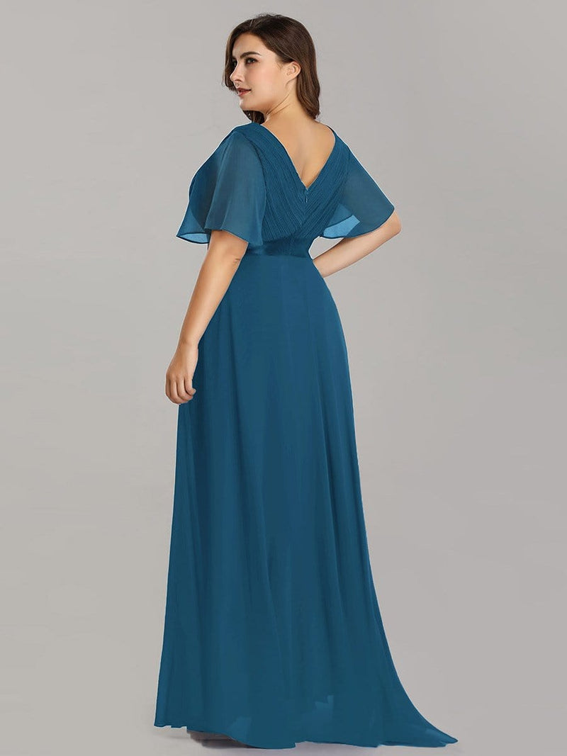 Long Empire Waist Evening Dress With Short Flutter Sleeves-Teal 8