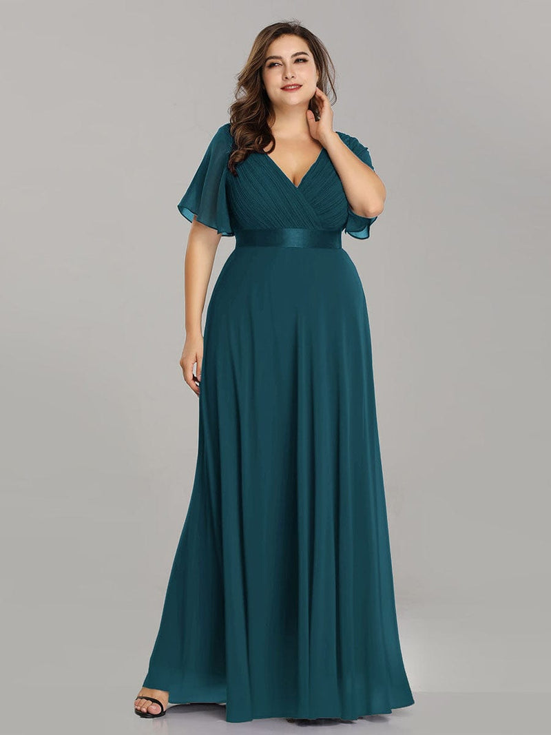 Plus Size Long Empire Waist Evening Dress With Short Flutter Sleeves-Teal 4