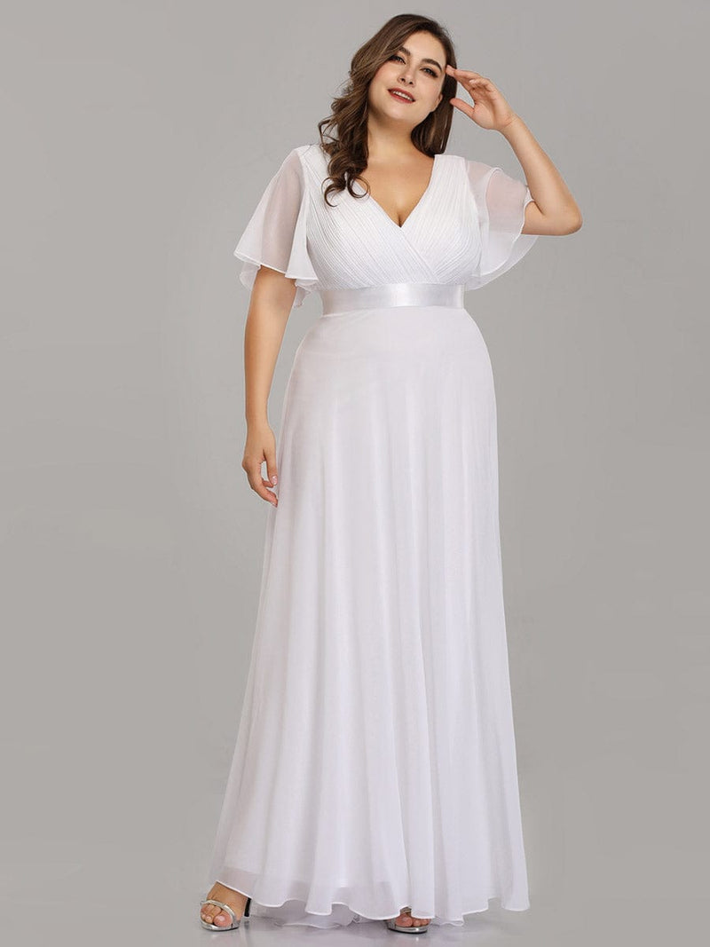 Plus Size Long Empire Waist Evening Dress With Short Flutter Sleeves-White 3