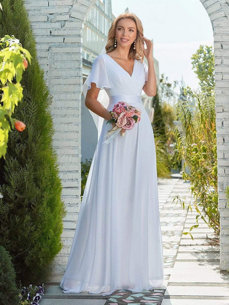 Minimalist A-Line Maxi Chiffon Wedding Dress With Satin Belt-White 10