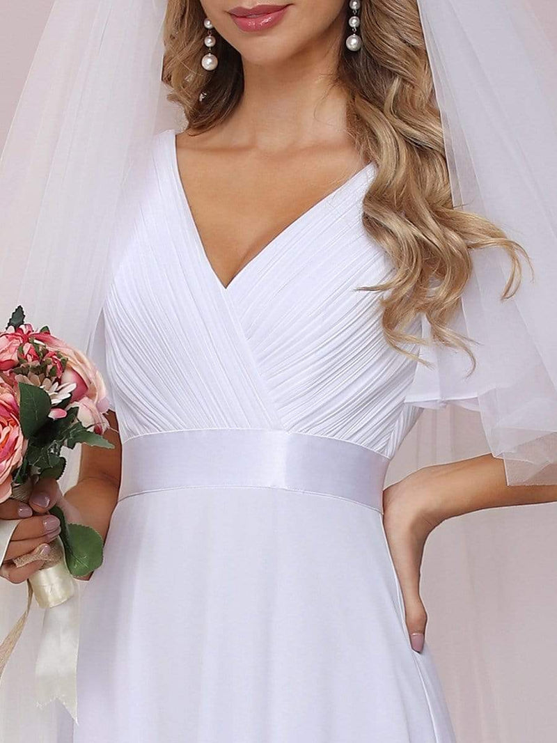 Minimalist A-Line Maxi Chiffon Wedding Dress With Satin Belt-White 8