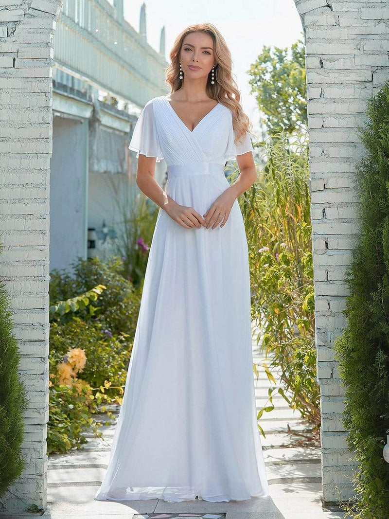 Minimalist A-Line Maxi Chiffon Wedding Dress With Satin Belt-White 1