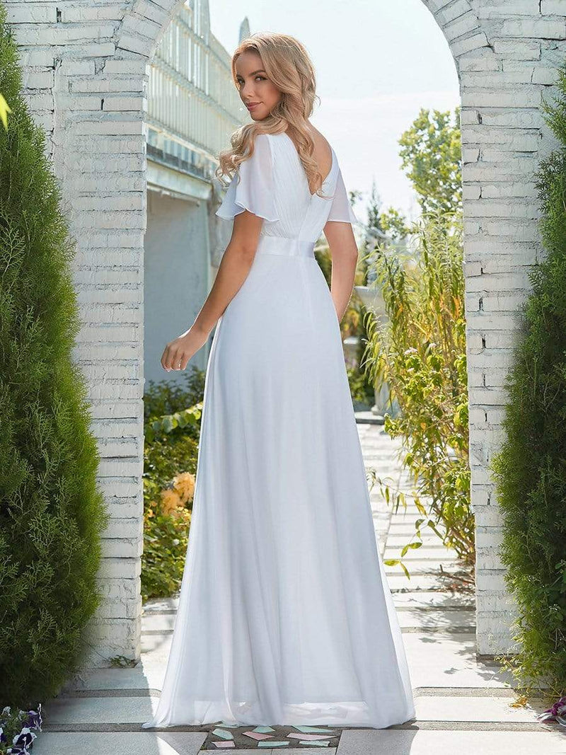 Minimalist A-Line Maxi Chiffon Wedding Dress With Satin Belt-White 2
