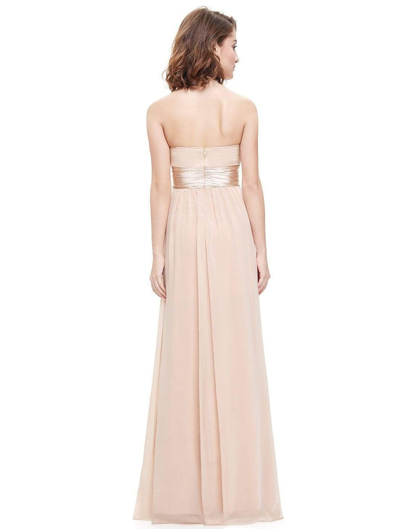 Strapless Empire Waist Long Chiffon Bridesmaid Dress-Blush 3