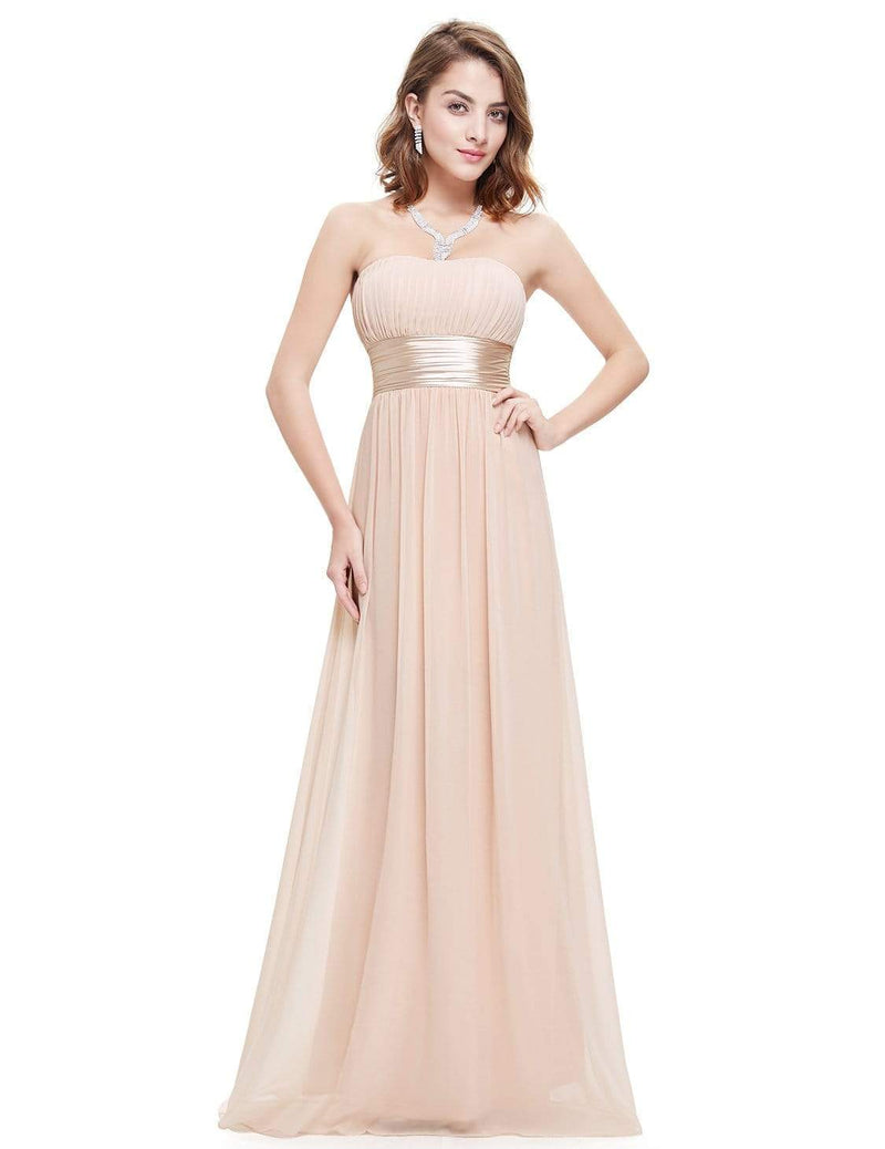 Strapless Empire Waist Long Chiffon Bridesmaid Dress-Blush 4